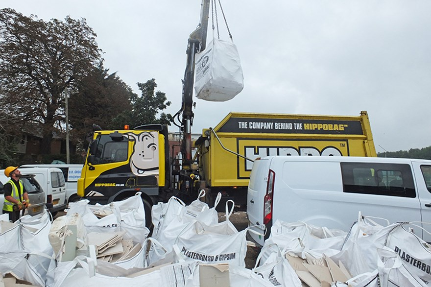 HIPPO collects a HIPPOBAG full of plasterboard with craned vehicle